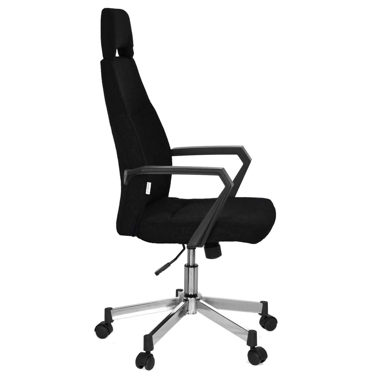 QMOBILI FOCUS HI Fekete ügyvezető szék, szövet, fejtámla, rögzített karfa, króm csillagláb, TILT mechanizmus eMAG.hu