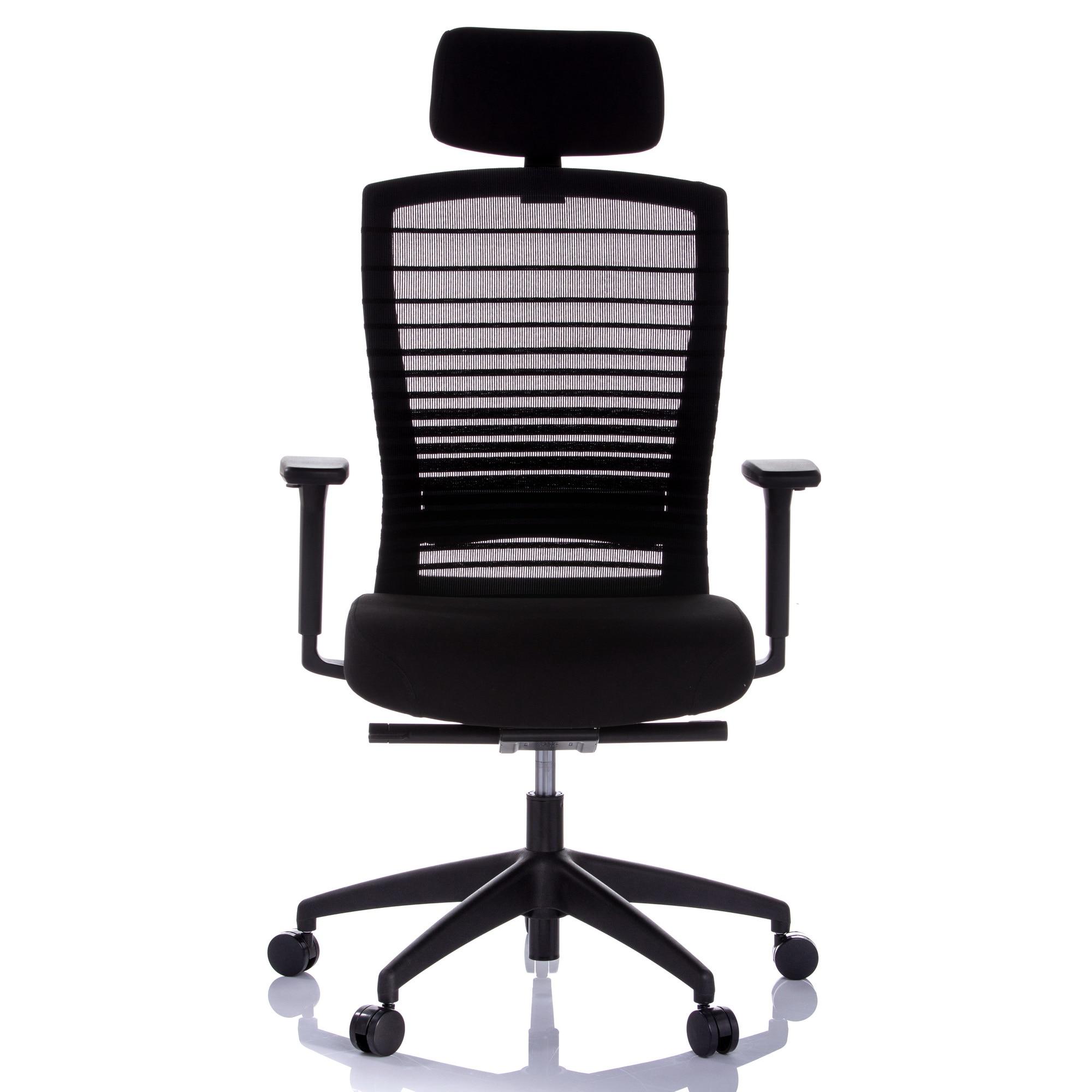 QMOBILI MUNIZ HI Fekete ergonomikus szék, szövet ülőlap, mesh háttámla, fejtámla 2D, szinkron mechanika, állítható deréktámasz, karfa 3D, PP