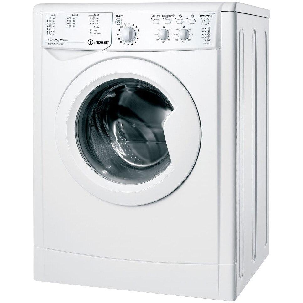 Fotografie Masina de spalat rufe Indesit IWC 91082 ECO (EU), 9 kg, 1000 RPM, Clasa A++, Motor Inverter, EcoTime, Alb