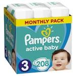 Pampers Active Baby-Dry Pelenka 3-as méret (Midi), 208 db