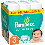 Pampers Active Baby Pelenka 3-as méret (Midi), 208 db, havi pelenkacsomag