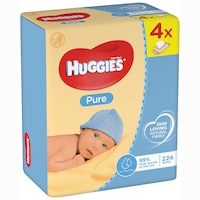 Servetele umede Huggies Pure, 4 pachete x 56, 224 buc