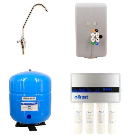 Statie de filtrare apa potabila LifeGuard LG-777, cu osmoza inversa, 283 L/zi, 4 filtre, rezervor 24 L + Accesorii