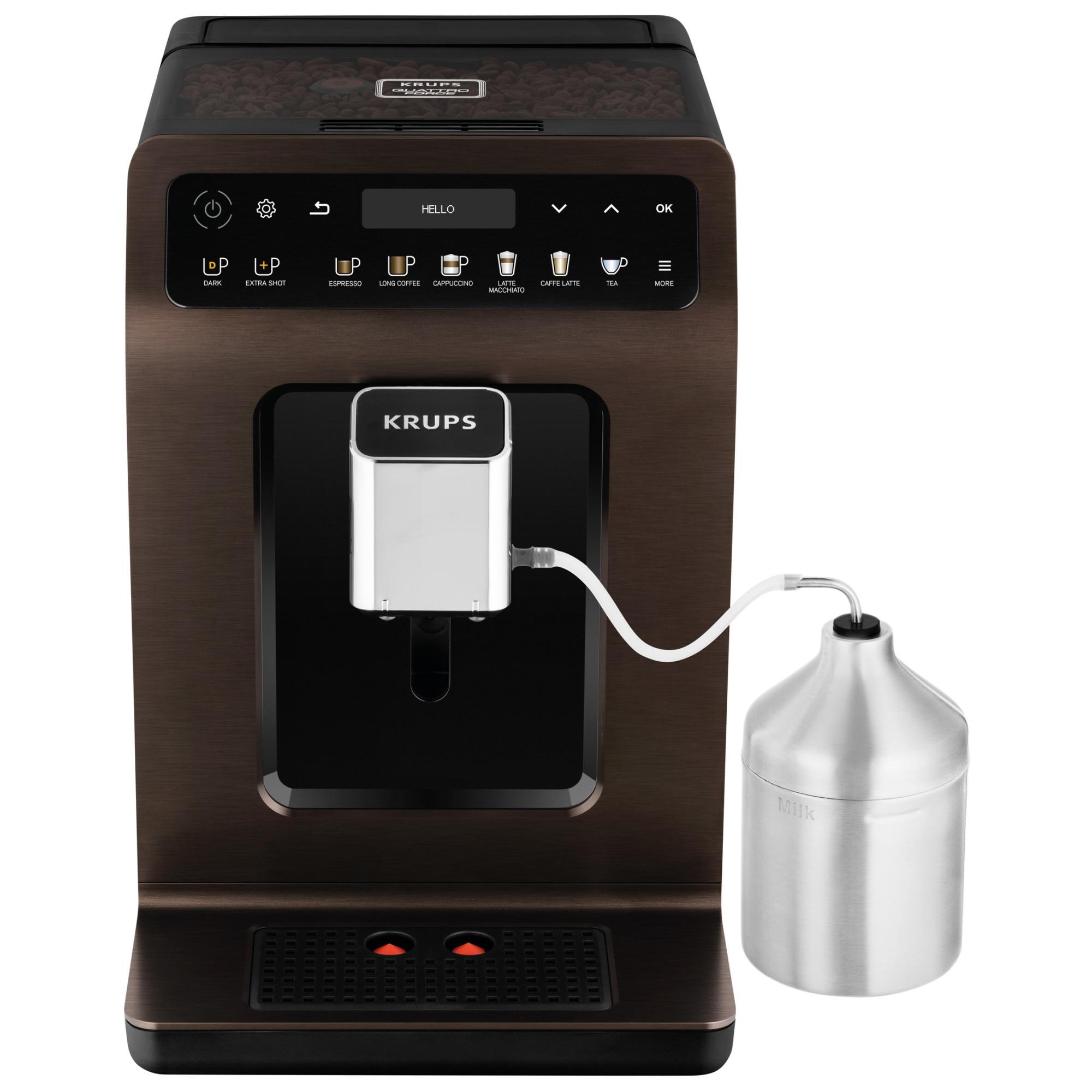 Fotografie Espressor automat Krups EA894910 Evidence, 1450 W, 2.3 L, One-Touch-Cappuccino, 19 selectii, accesoriu pentru lapte, display Touch Screen, Maro