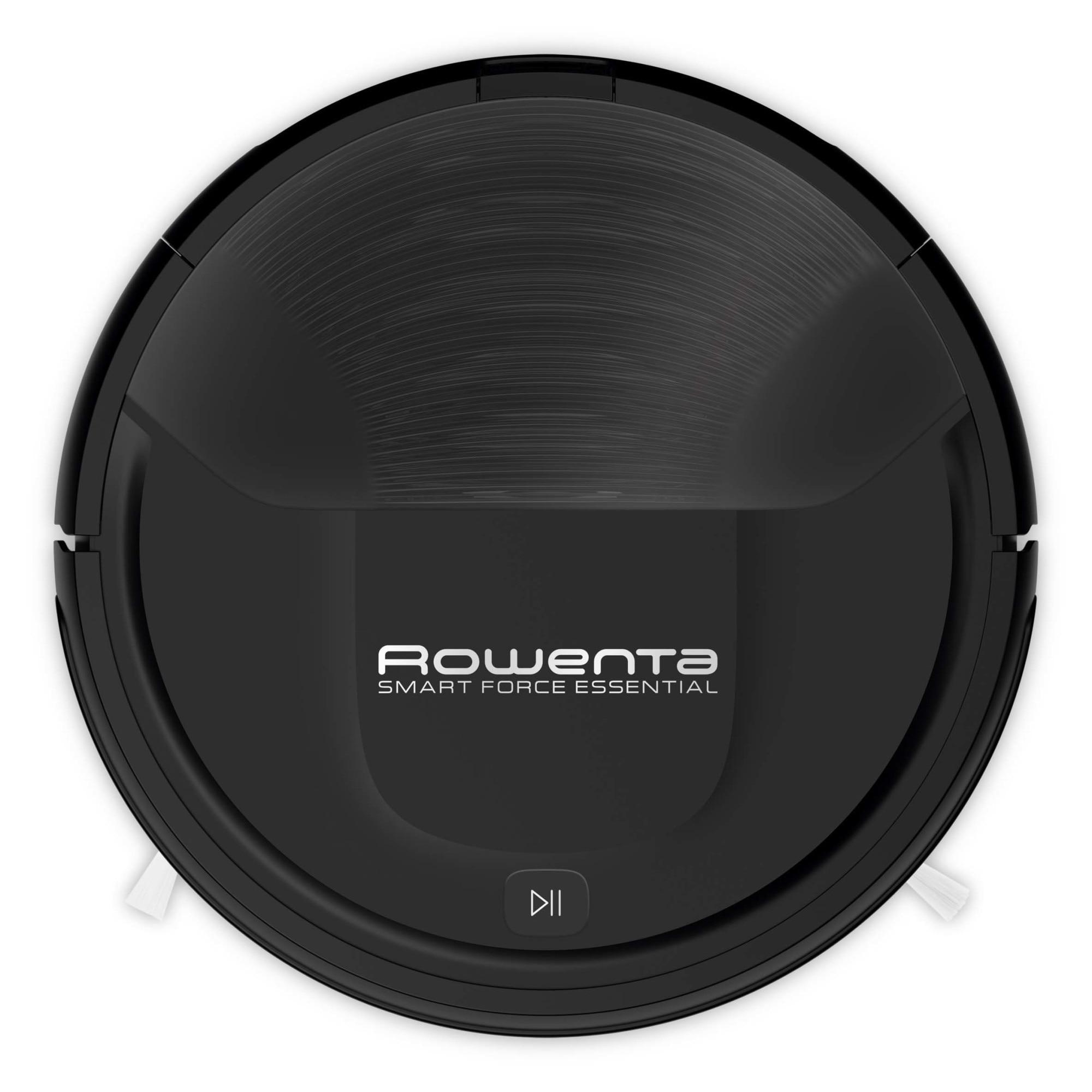 Fotografie Aspirator robot Rowenta Smart Force Essential RR6925WH, 3 functii, Autonomie pana la 150min, Functia Magnetic Strip, Senzor infrarosu si denivelari, Negru