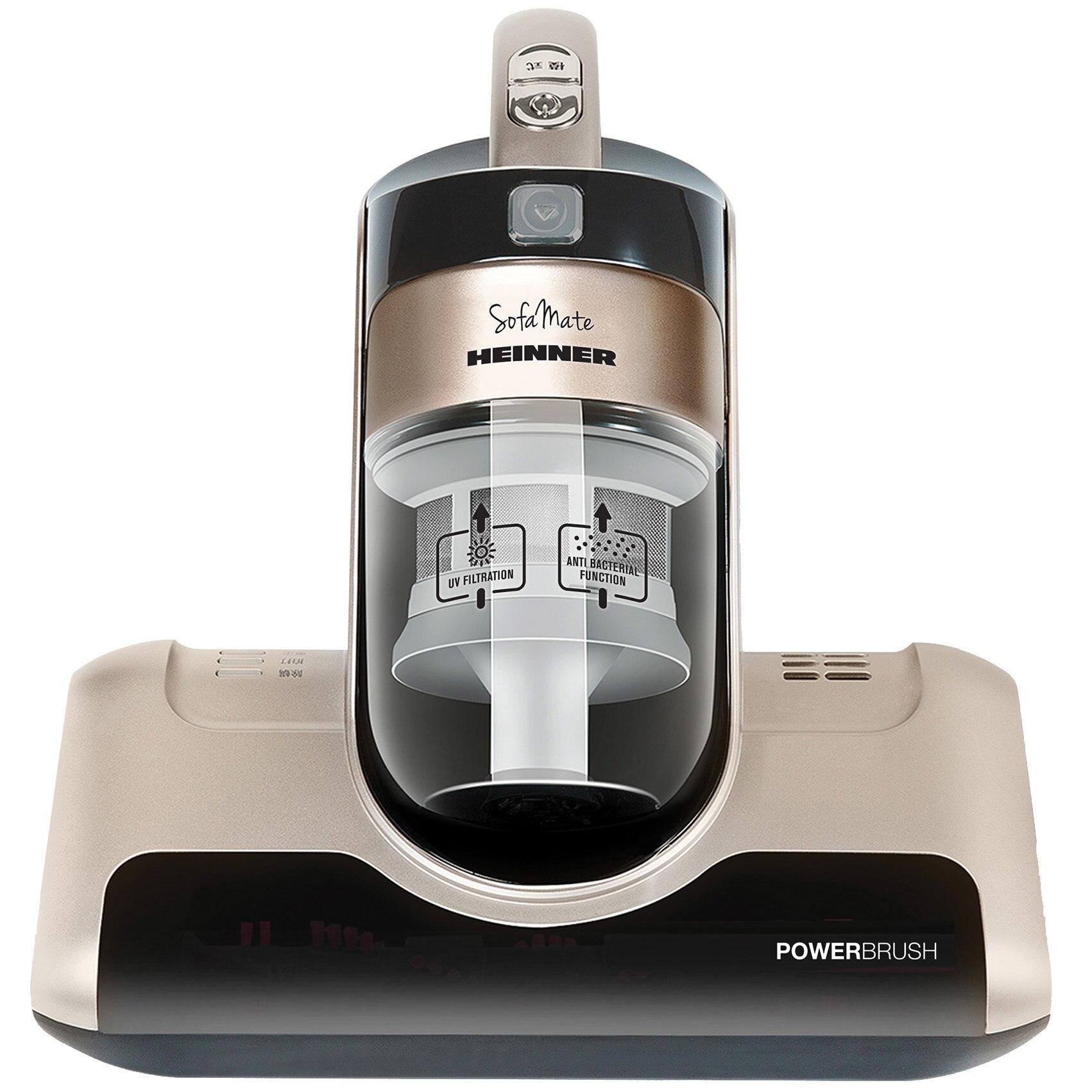Fotografie Aspirator saltele si canapele Heinner Sofa Mate 450, HCVC-M450G, 450 W, 0.4 L, 3 moduri de aspirare, perie rotativa 4.400 Rpm, lampa UV, Maro