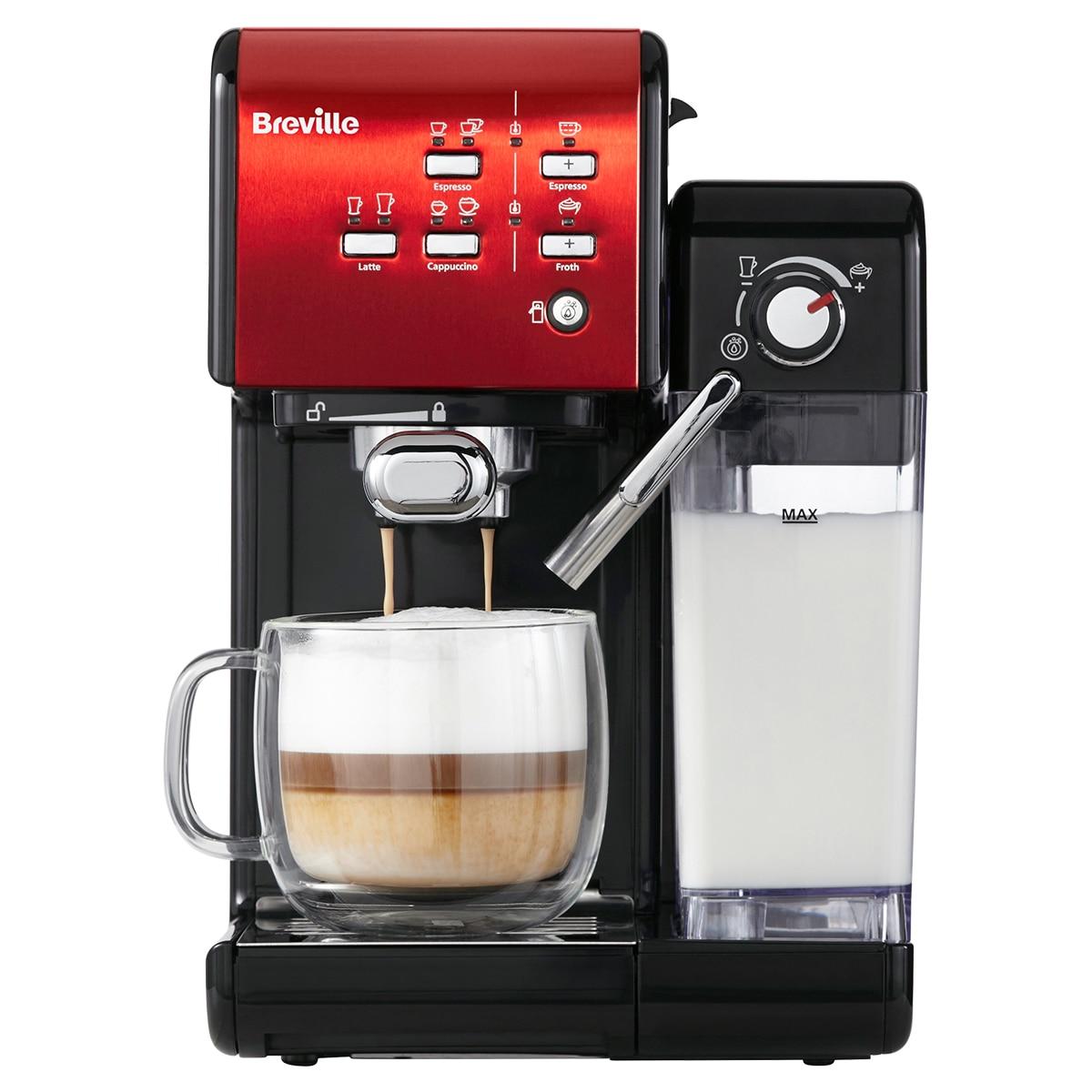 Fotografie Espressor manual Breville VCF109X Prima Latte II, 19 bar, 1.5 L, recipient lapte 0.6 L, Rosu