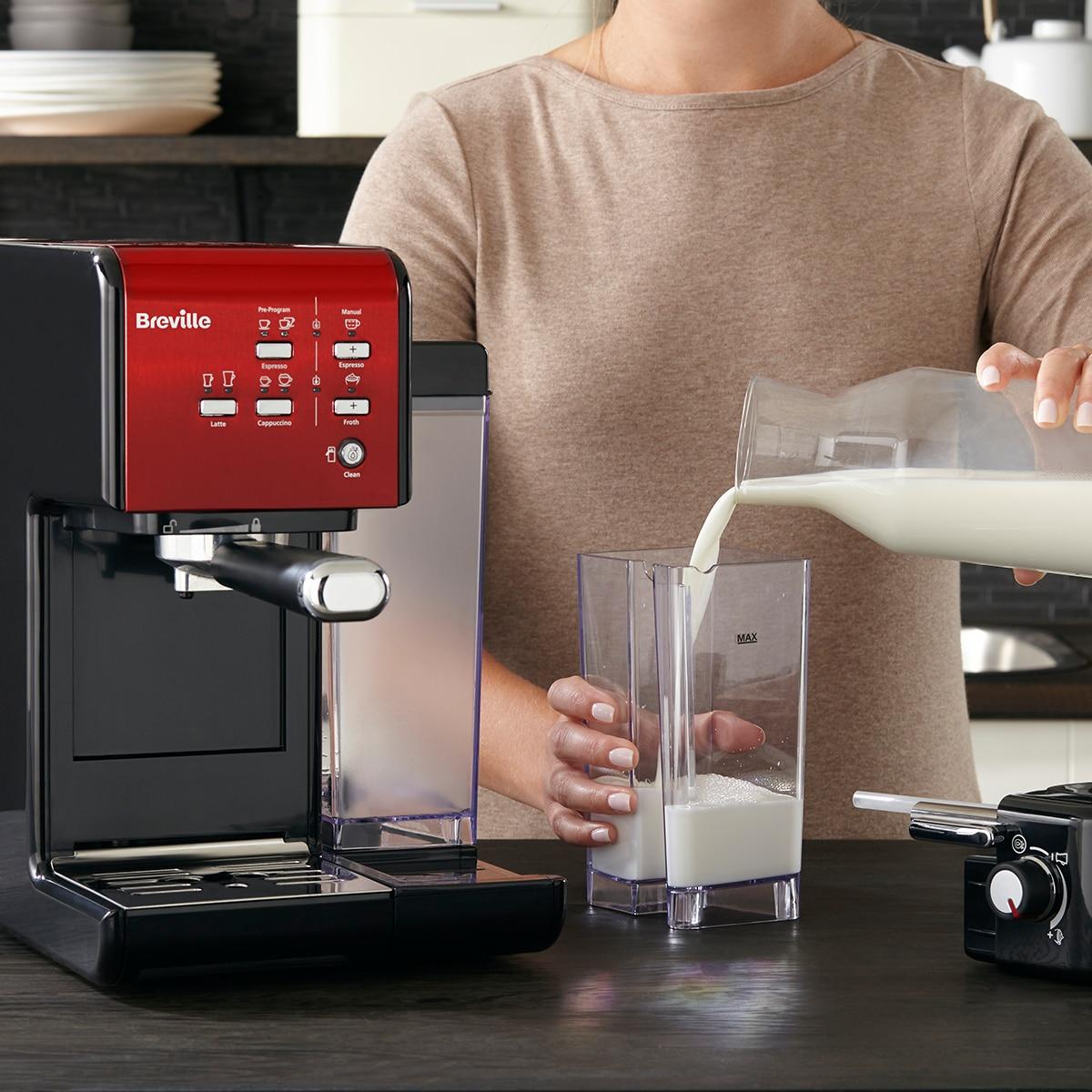 Espressor manual Breville VCF109X Prima Latte II, 19 bar, 1.5 L, recipient  lapte 0.6 L, Rosu - eMAG.ro
