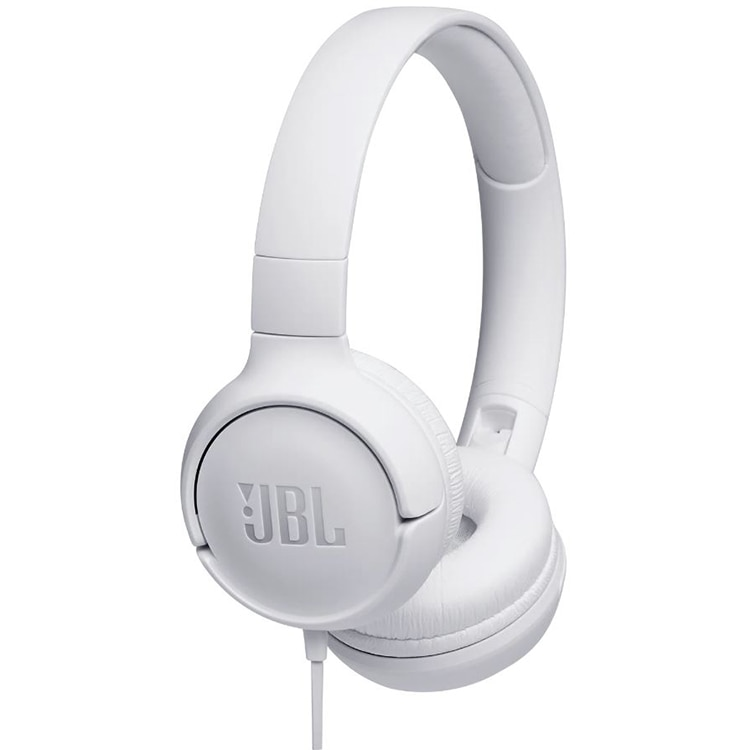 Fotografie Casti audio On-ear JBL Tune 500, Pure Bass Sound, Hands-free Call, Alb