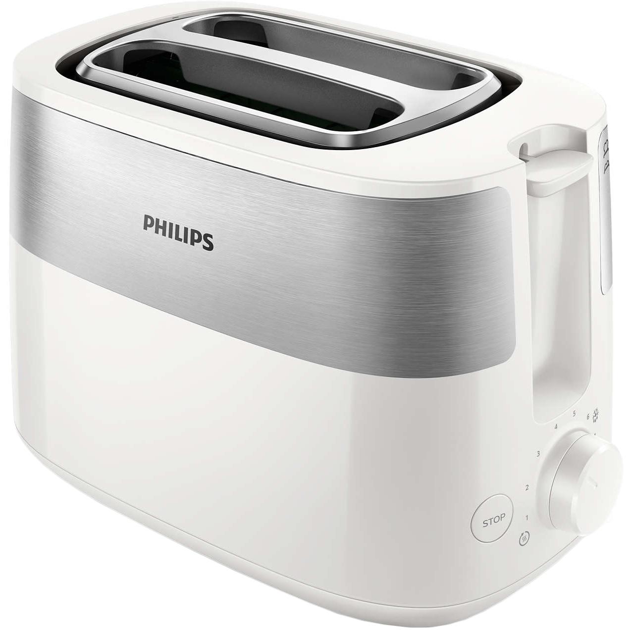 Fotografie Prajitor de paine PHILIPS HD2515/00, 830 W, 2 fante, functie dezghetare, Alb/Inox
