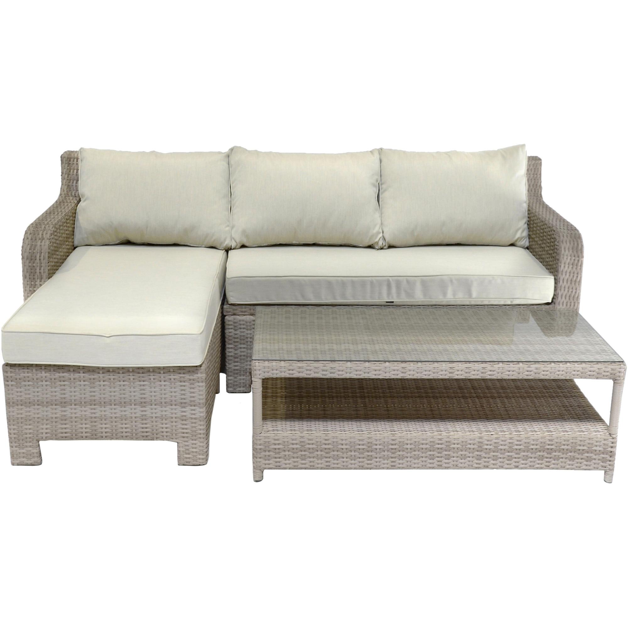 Fotografie Set mobilier gradina/terasa coltar Kring Split, canapea, masa, Bej