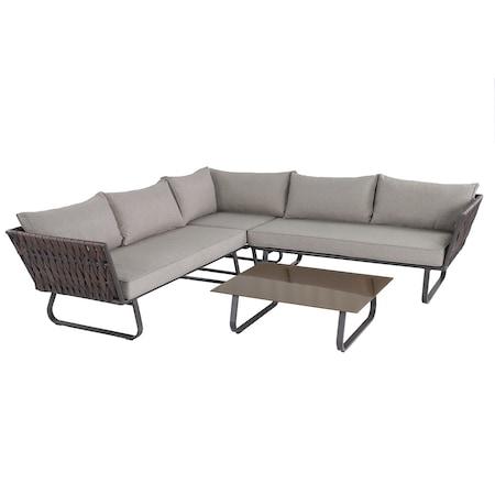 Set mobilier gradina/terasa/plaja Coltar Kring Laval, masa, coltar, ratan sintetic, gri/bej