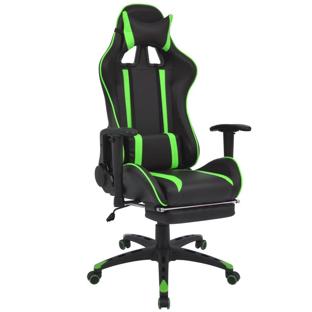 Zöld műbőr gamer szék lábtartóval | FAVI.hu