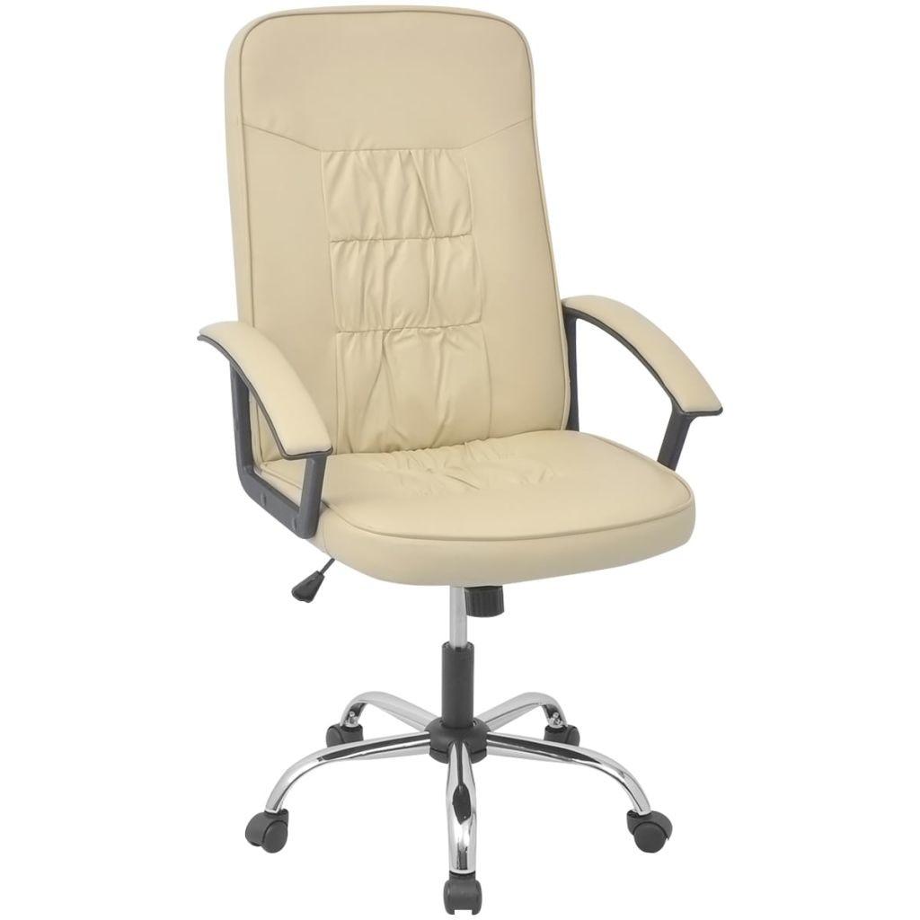 vidaXL műbőr irodai szék 67 x 70 cm krém szín