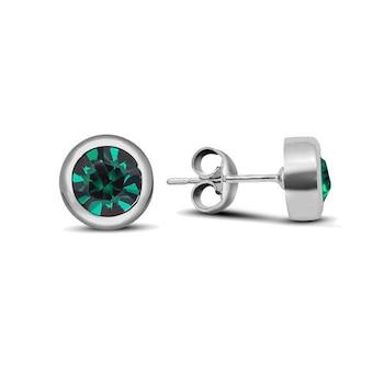 Haris Diamonds Karika fülbevaló fehér aranyozott kristály eredeti Swarovski zöld