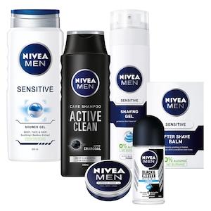 Pachet promo Nivea Men Sensitive: Gel de ras + After shave + Gel de dus + Crema + Sampon Active Clean + Deodorant roll-on