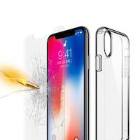 Комплект стъклен протектор Tempered Glass + прозрачен силиконов гръб Ultra Slim, за Apple iPhone 7