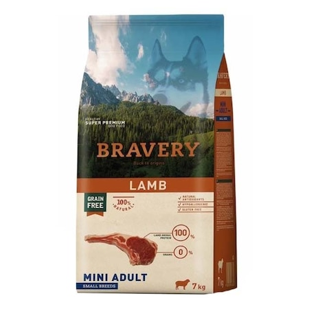 Суха храна за кучета Bravery Mini, Агнешко, 7 кг