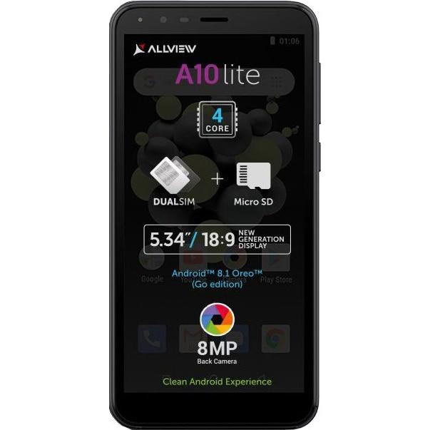 Fotografie Telefon mobil Allview A10 Lite, Dual SIM, 1GB RAM, 8GB, 3G, Black