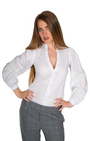 Риза Bonelli Lux, Модел 020570/389, Памук с буфан ръкави и отворено деколте, Цвят- бял