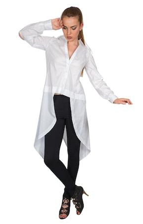 Риза Bonelli Lux, Модел 020563/392, Памук, тип туника, асиметрична, с отвори на ръкавите, Цвят- бял