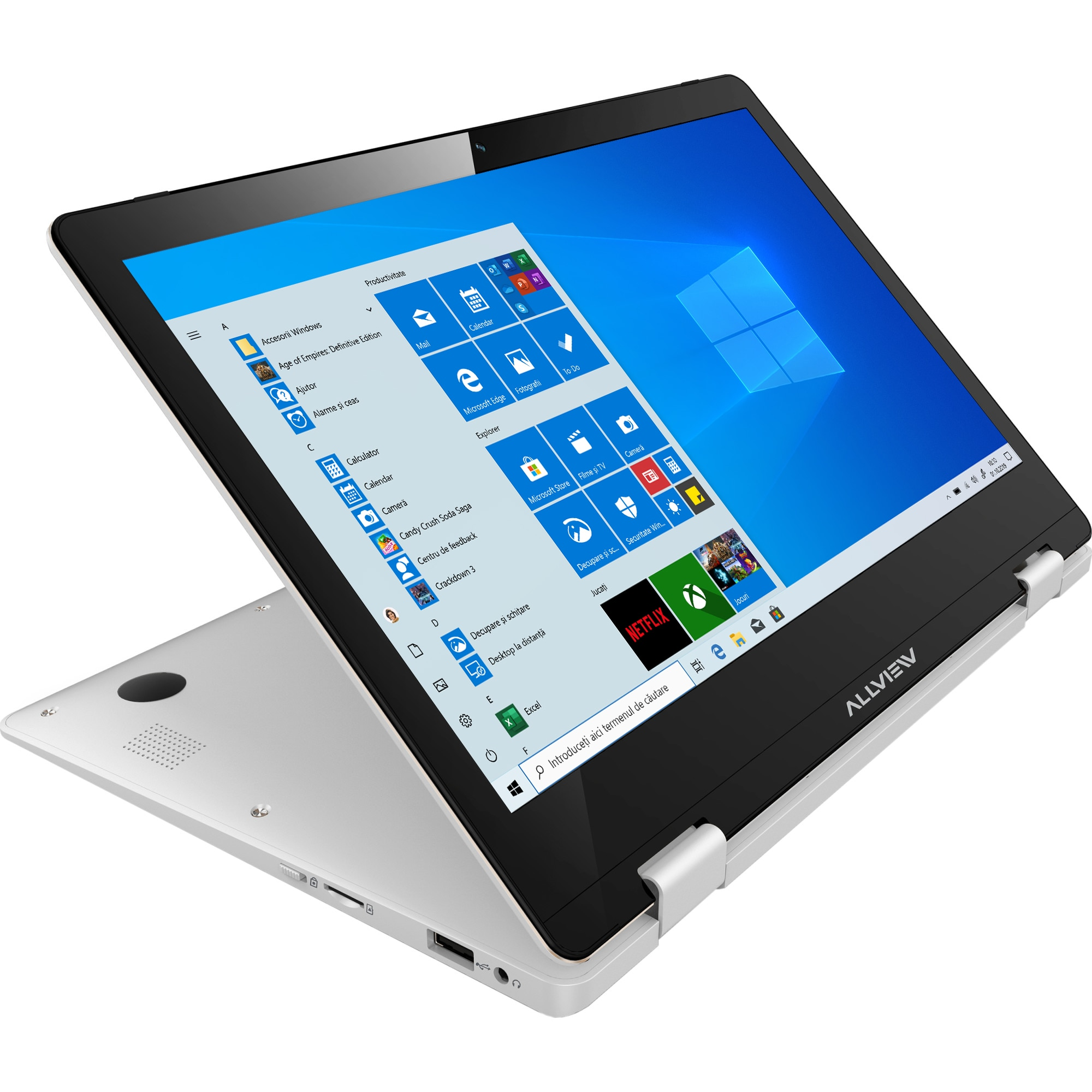 "Fotografie Laptop 2 in 1 Allview Allbook Y cu procesor Intel® Celeron® N3350 pana la 2.40 GHz, 11.6"", Full HD, IPS, Touch, 4GB, 64GB eMMC, Intel® HD Graphics, Microsoft Windows 10, Silver"
