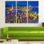 Пано от канава - Хонг Конг Панорама от Pano bg, 3 части, канава, размер М 120 х 80 см