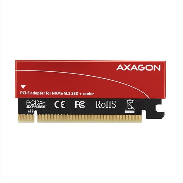 Fotografie Card PCI-E x4 Axagon PCEM2-S, adaptor la 1x M.2 NVMe SSD, M.2 2230/2242/2260/2280, Cooler pasiv, Roșu