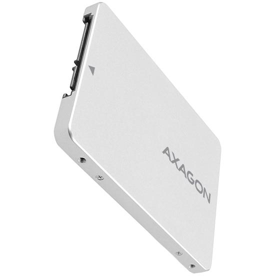 Fotografie Adaptor 2.5 inch SATA la M.2 SATA SSD Axagon RSS-M2SD, Aluminiu, Compatibil SSD M.2 NGFF 2230/2242/2260/2280, Argintiu