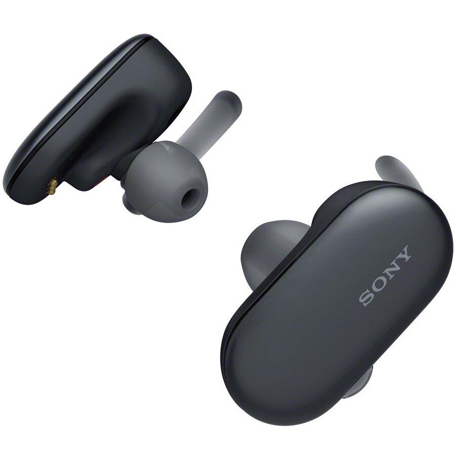 Fotografie Casti sport in-ear True wireless Sony WFSP900B, Noise Cancelling, Google Assistant, Bluetooth, NFC, Rezistente la stropire IPX5/8, 4GB Memorie, Autonomie 3 ore, Negru