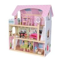 EcoToys Nagy Ház típusú játék gyerekeknek, 3 szint, 5 szoba + kiegészítők, méretek 63x71x30cm