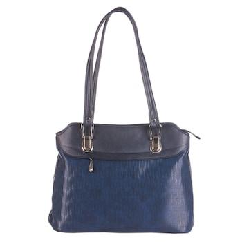 Sötétkék színű, környezetbarát bőrből készült WES női táska