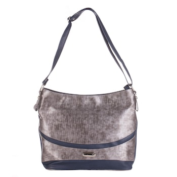 Sötétkék/szürke színű, környezetbarát bőrből készült WES női táska