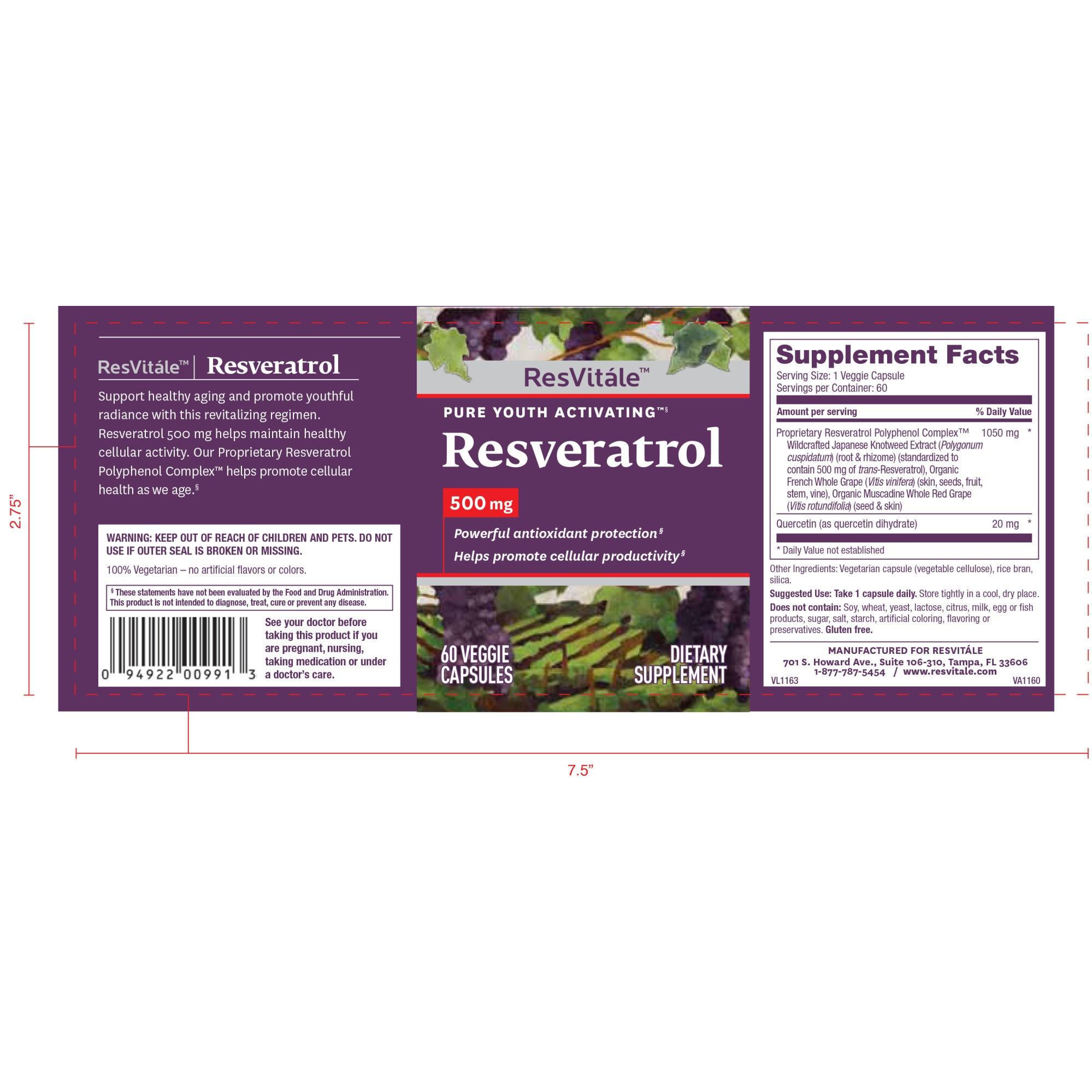 Resvitale Resveratrol 500 Mg 60 Capsule Vegetale Emag Ro