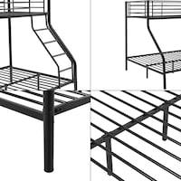 [neu.haus]® Emeletes ágy 3 személyes 200x140/90cm fém gyerekágy heverő létrával fekete