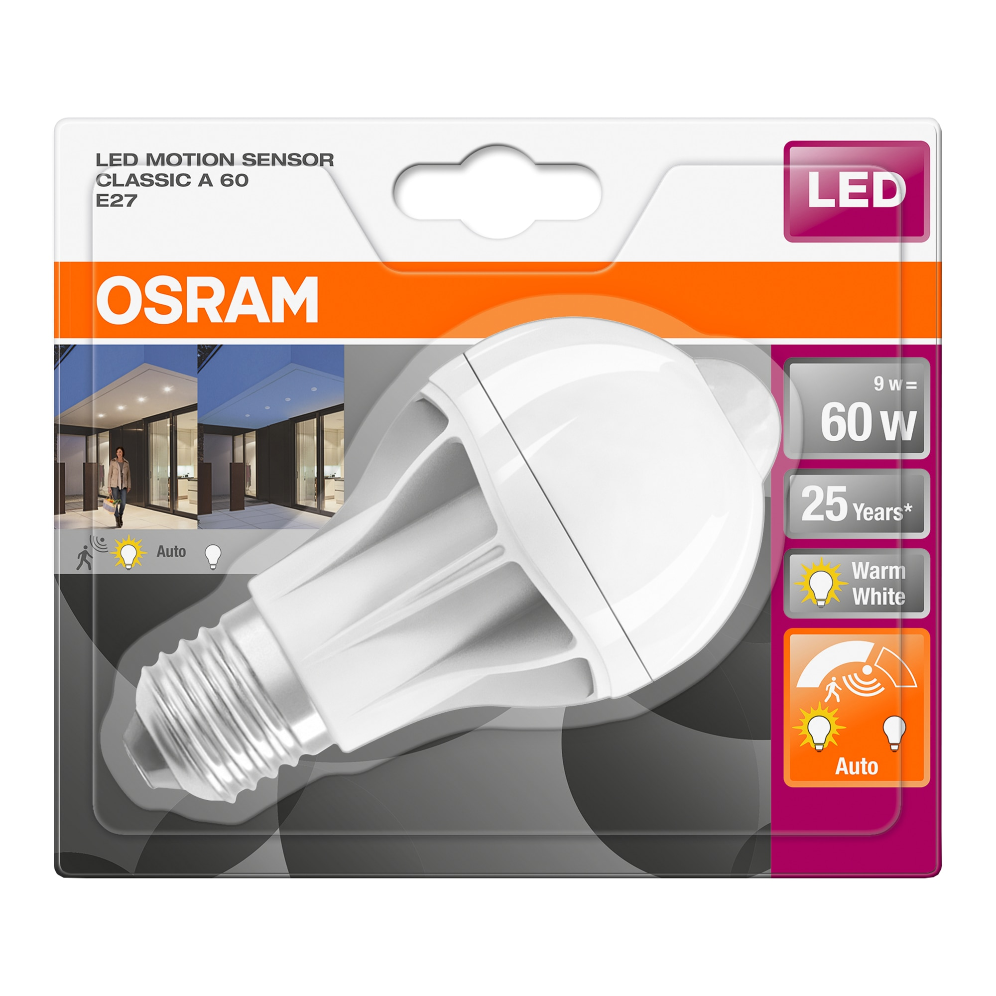 Fotografie Bec LED cu senzor miscare Osram A60, E27, 9W (60W), 806 lm, lumina calda