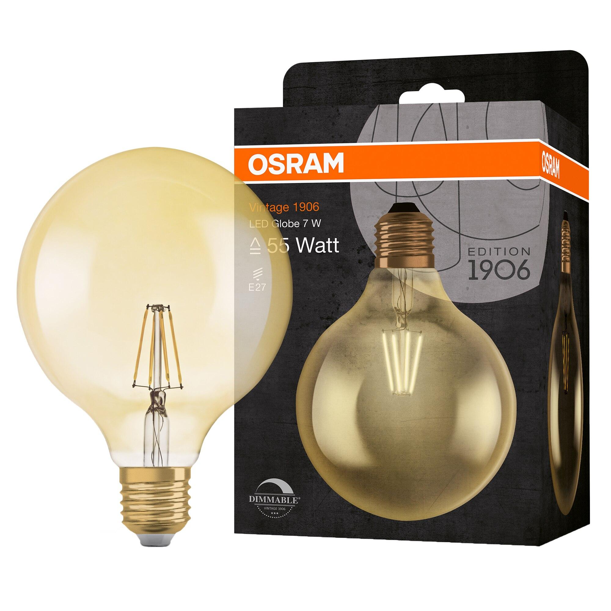 Fotografie Bec LED Osram Vintage 1906 Globe, dimabil, 55, 7 W, E27, lumina calda 2500K, 725 lm, clasa energetica A+, 15 000 ore functionare