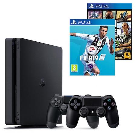 Consola PlayStation 4 Slim 500GB Black, Sony PS4+Joc FIFA 19 за PS4+ Gamepad - Sony PlayStation DualShock 4+Joc GTAV (GTA5): Grand Theft Auto V