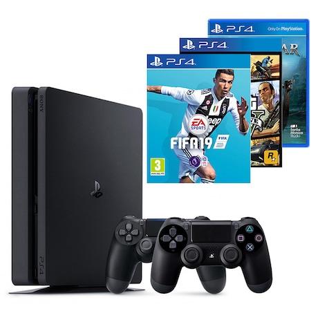 Consola PlayStation 4 Slim 500GB Black, Sony PS4+Joc FIFA 19+gamepad - Sony PlayStation DualShock 4, V2+joc Grand Theft Auto V+joc God of War