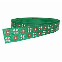 Banda tesuta RELI, latime 25 mm, lungime rola 25 mm, culoare verde, rosu si rexor argintiu (multicolor)