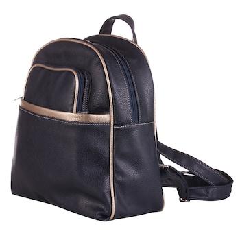 Sötétkék színű, környezetbarát bőrből készült, hátizsák típusú WES női táska