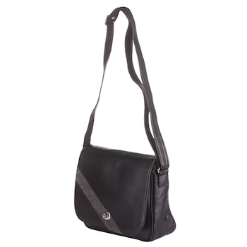 Fekete színű, természetes bőrből készült Macro Collection női táska