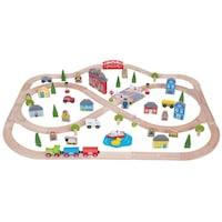 Комплект влакче с релси Town and Country Bigjigs Toys,101 части, Многоцветен