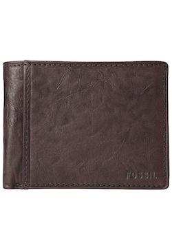 Fossil férfi, összehajtható, barna, bőrpénztárca