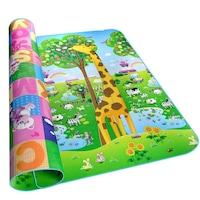 Gyerek Játszószőnyeg - kétoldalas - 180x150cm - Zsiráf és Betűk - Vastag - Táróló tokkal