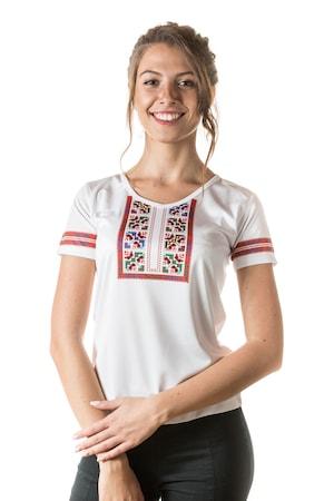 Тениска Перлита с народен мотив, модел 4, Бял