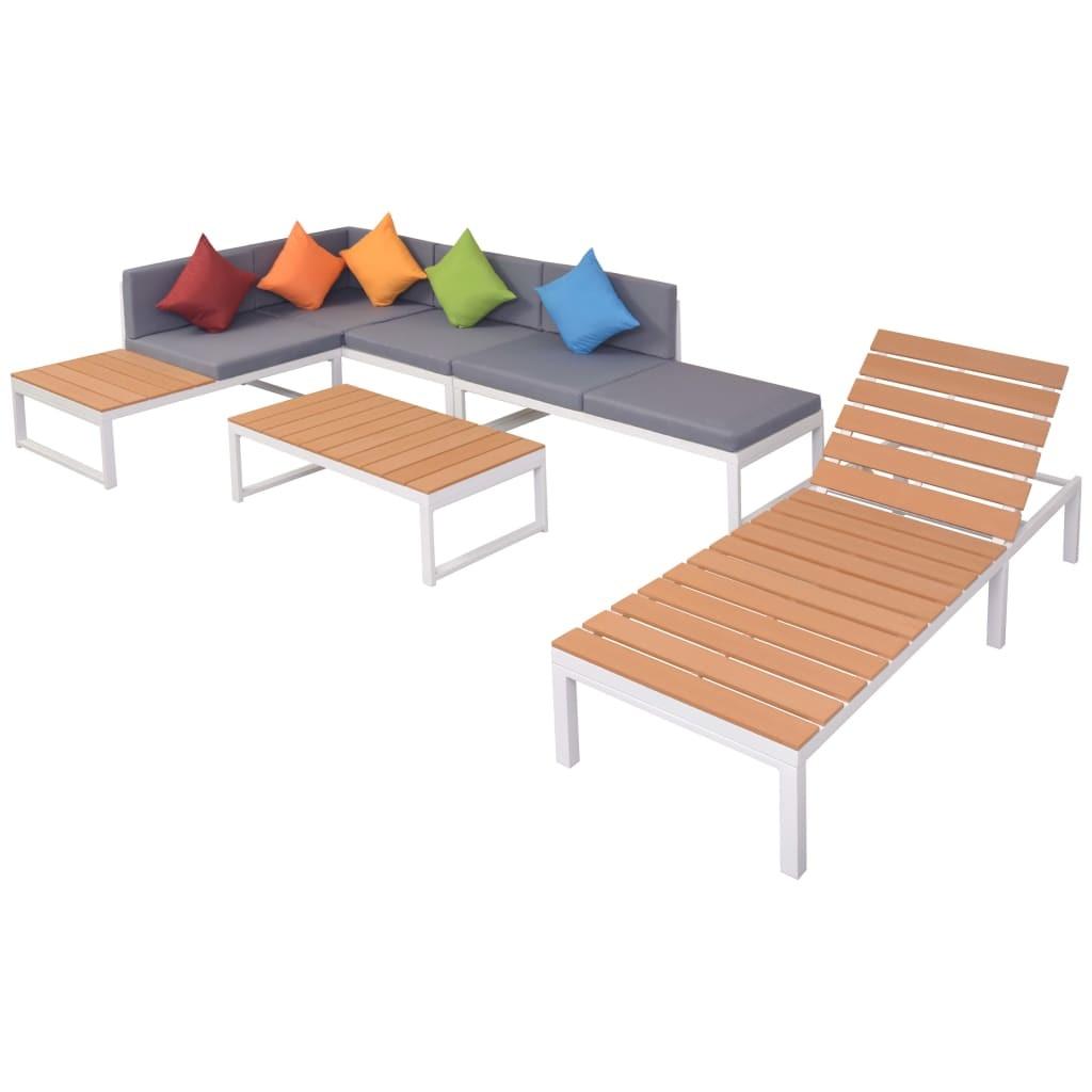 Bipi 2 db ezüstszínű alumínium és WPC rakásolható kerti szék