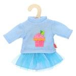 Játékbaba ruhácska, pulóver+szoknya, 28-35 cm, kék
