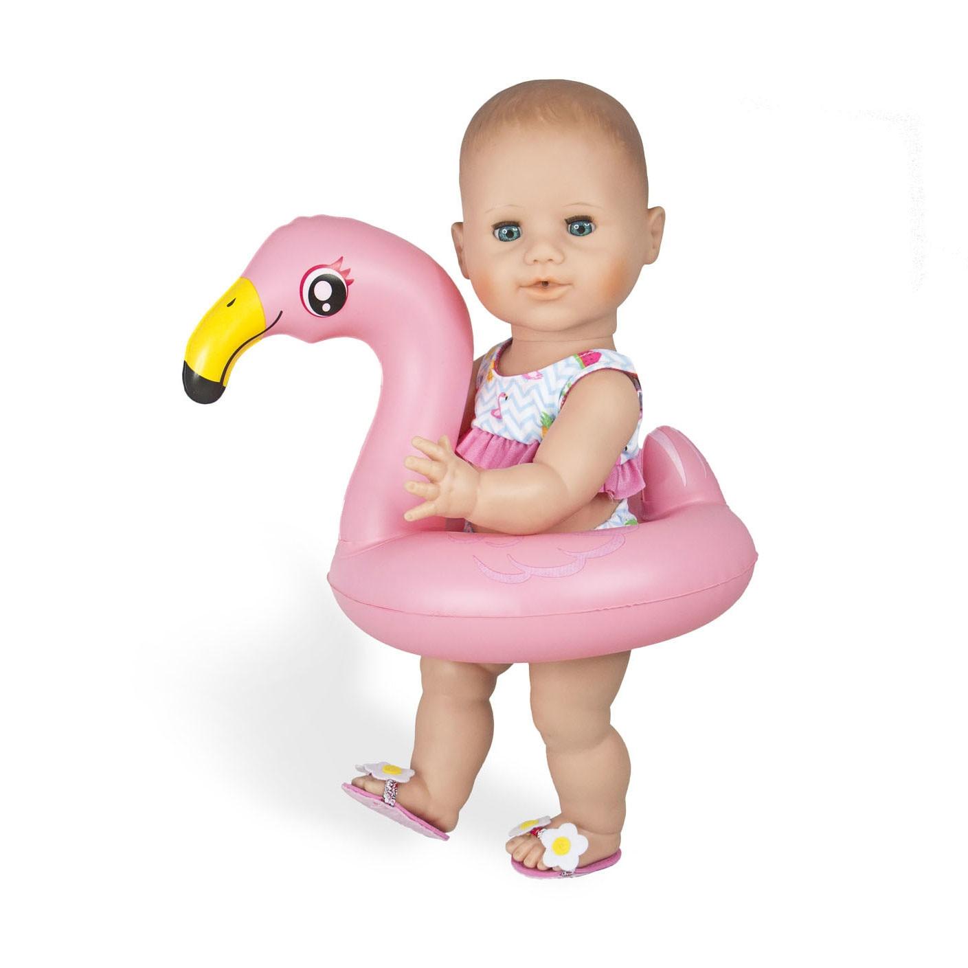 Játékbaba strandszett, 35-45 cm, Flamingó W28O0G