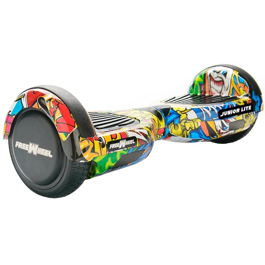 Fotografie Scooter electric Freewheel Junior Lite graffiti galben , roti 6.5 inch, autonomie 12 km, viteza 12 km/h ,motor 2 x 200W